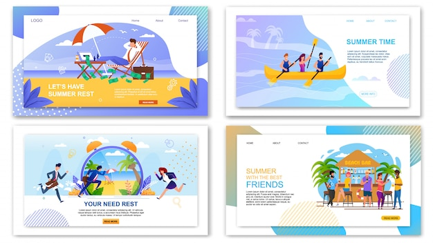 Set of landing page web template for summer vacation offers. rest and relax on beach or in tropical bar and extreme recreation on boats for people.