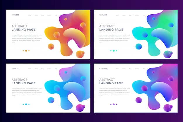 Set of landing page web template with abstract dynamic liquid design