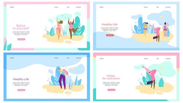 Set of landing page web template with attractive overweight women healthy lifestyle