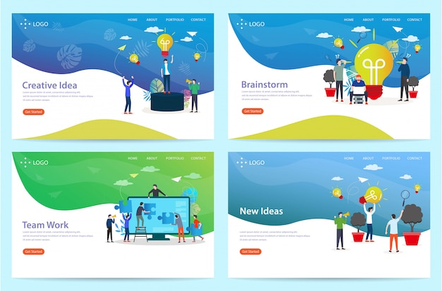 Set of landing page with the brainstorm theme, illustration