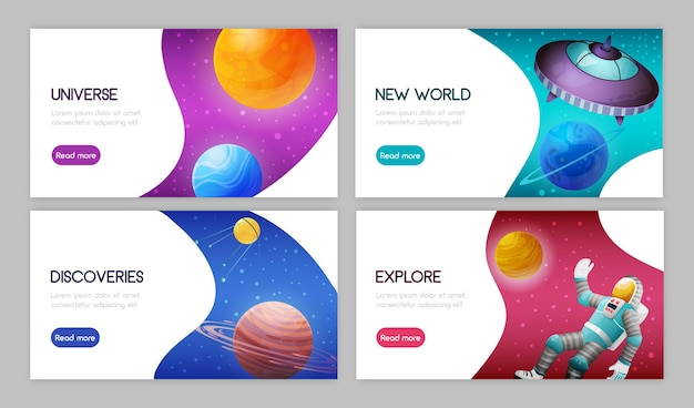 Set of landing page with call to action. space science exploration discoveries innovations  celestial bodies astronaut spacecraft