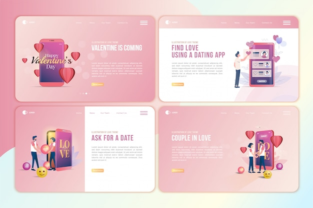 Set of landing page with fall in love illustration for valentine's day theme