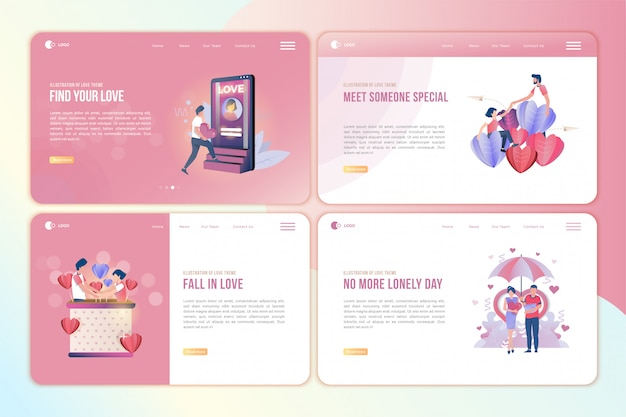 Set of landing page with illustrations of people who find love