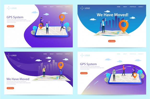 Set of landing page with location theme, illustration