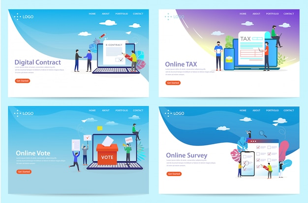 Set of landing page with the theme of the agreement, illustration