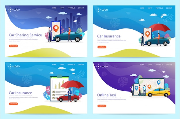 Set of landing page with the theme of the car, illustration