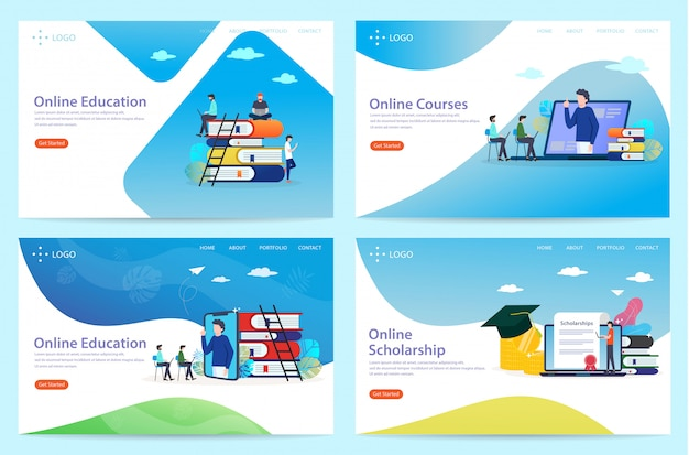 Set of landing page with the theme of education, illustration