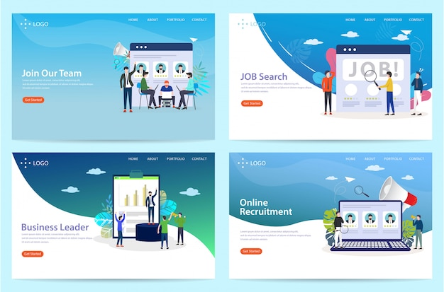 Set of landing page with the theme of the job, illustration