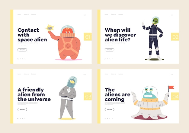 Set of landing pages for aliens and life in space concept with cute funny cosmic monsters.