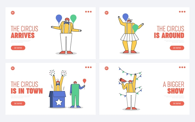 Set of landing pages for circus website with cartoon clown characters