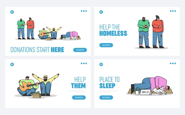 Set of landing pages for homeless people donation and help