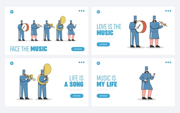 Set of landing pages marching band cartoons. military orchestra performance for parade or festival