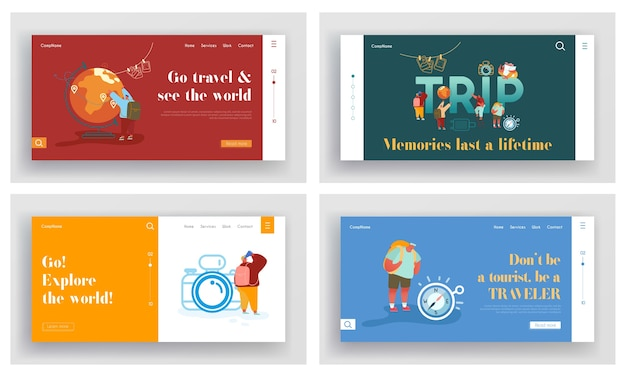 Set of landing pages of tourists adventure, travelling around the world.