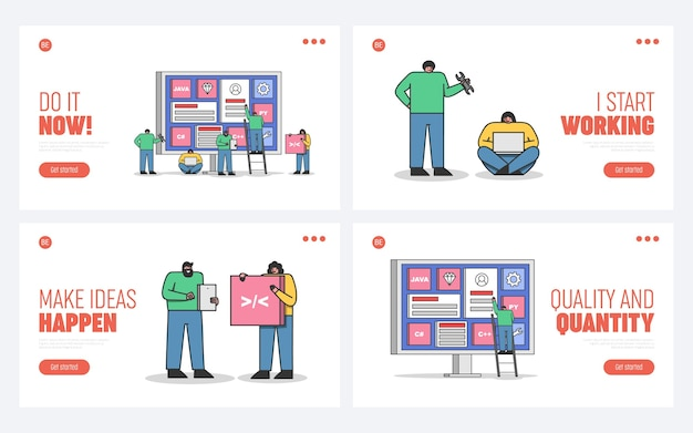 Set of landing pages for web development, coding and programming websites and mobile applications with cartoon programmers and developers team Premium Vector