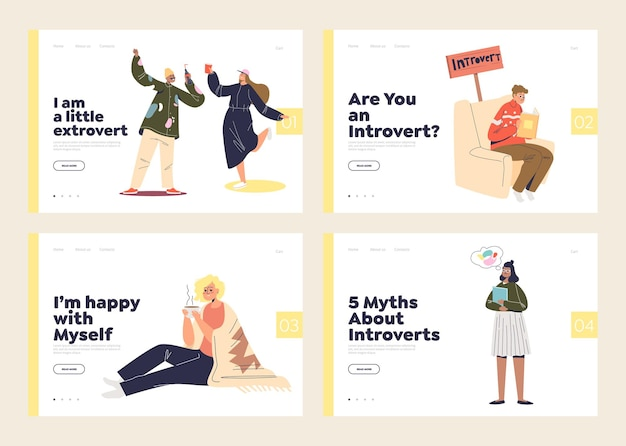 Set of landing pages with extroverts and introverts types of relaxation and rest. extraverted people dancing and introverted - alone calm.