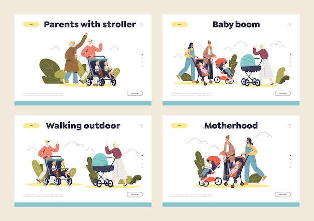 Set of landing pages with happy mom, dad and little kids in pram walking in park.