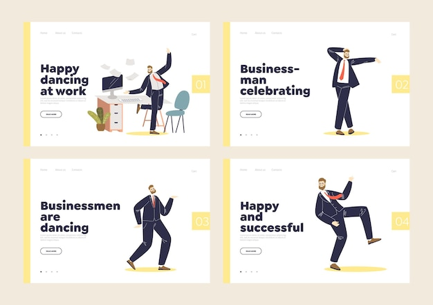 Set of landing pages with happy and successful businessman dancing cheering to victory.