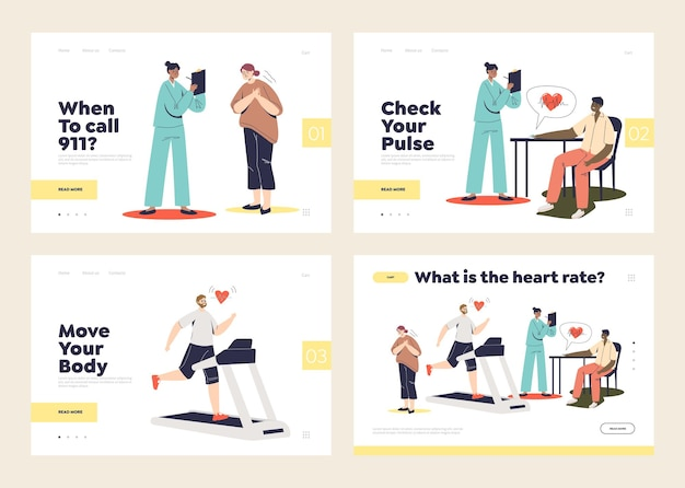 Set of landing pages with heart rate, heart diseases, attack and heartbeat concept and people suffering from pain, on medical checkup and training with measuring pulse.