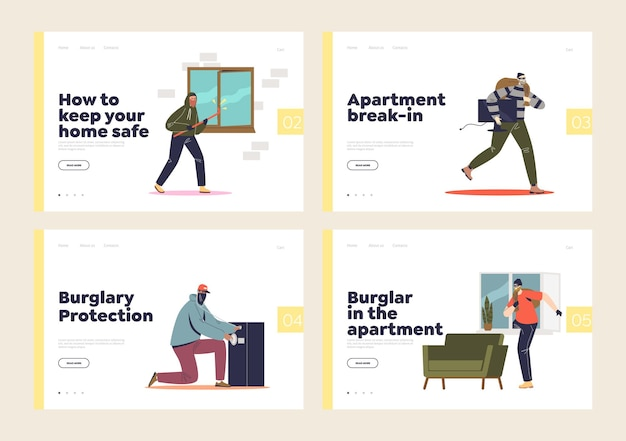 Set of landing pages with home burglar, housebreaking, robbery and thief in apartment.