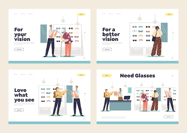 Set of landing pages with optics store customers choosing and buying eyeglasses