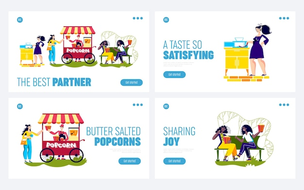 Set of landing pages with people enjoy popcorn.