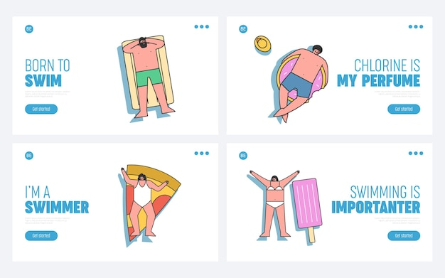 Set of landing pages with people floating on mattresses, top view template summer recreation concept