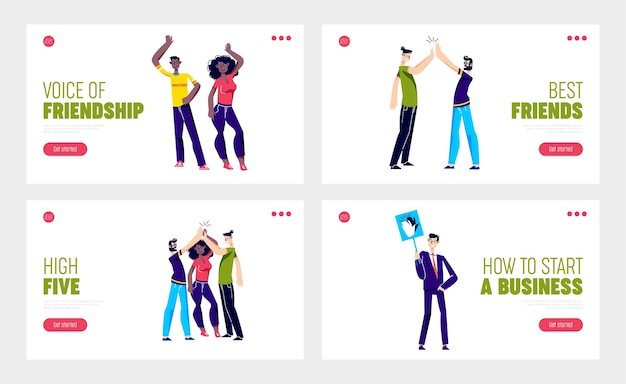 Set of landing pages with people giving high five hand gesture to friend or partner.