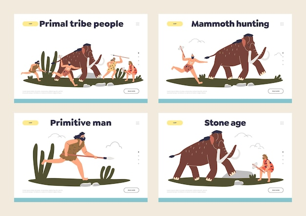 Set of landing pages with prehistoric, primal tribe primitive cavemen hunting on mammoth.