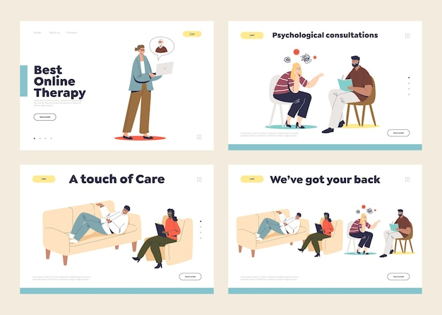 Set of landing pages with psychologist consultation concept, psychotherapist listening to patients. mental diseases, healthcare and support concept.