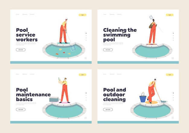 Set of landing pages with swimming pool cleaning, maintenance and repair service workers