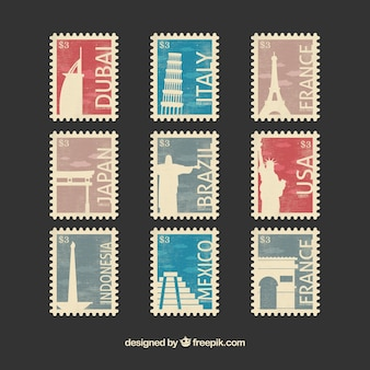 Set of landmark stamps in flat style