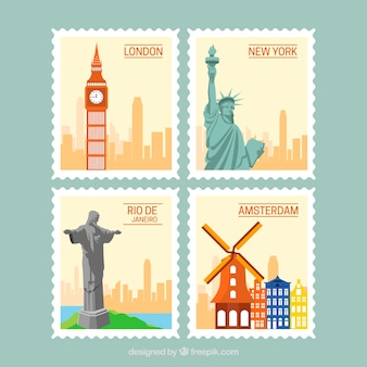 Set of landmark stamps with cities and monuments