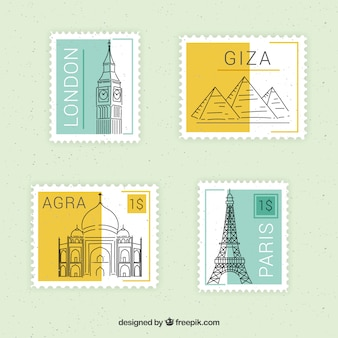 Set of landmark stamps with different cities in flat style