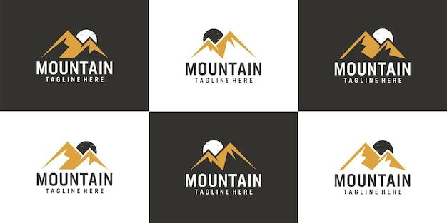 Set of landscape adventure mountain peak logo vector design