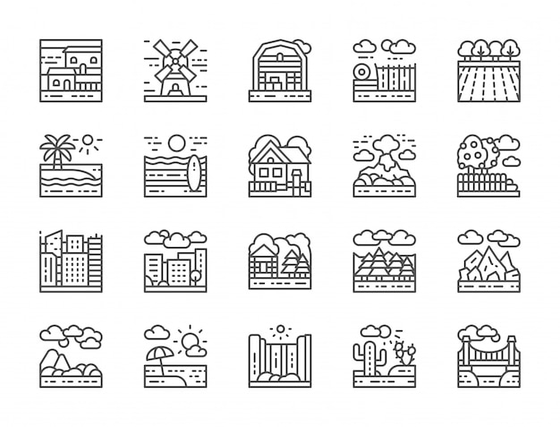 Set of landscape line icons