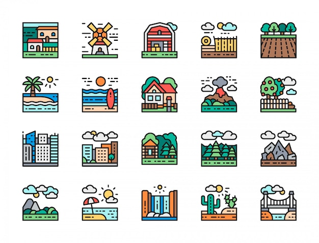 Set of landscape and megapolis flat color line icons. bridge, desert and more.