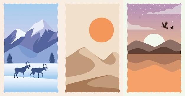 Set of landscapes flat scenes