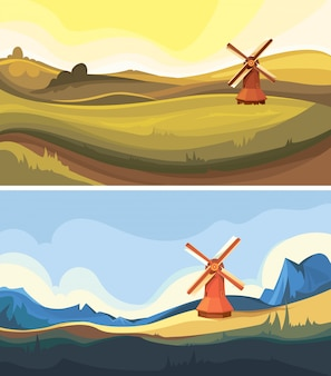 Set of landscapes with windmill. beautiful nature sceneries.