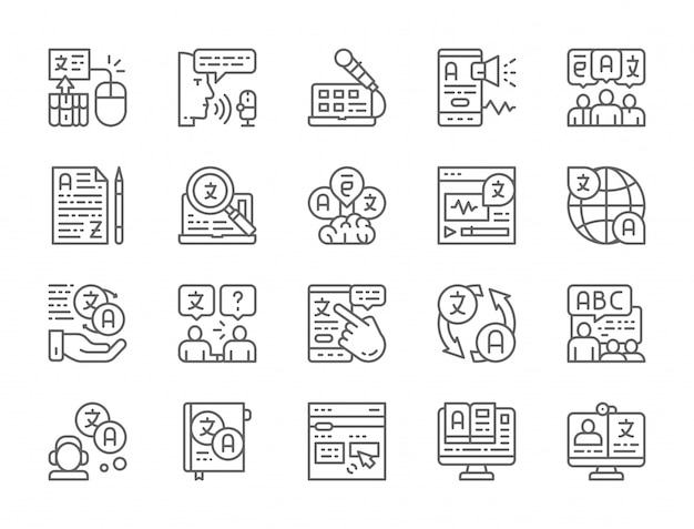 Set of language translation line icons