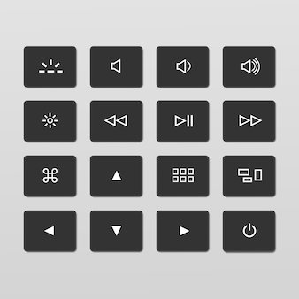 Set of laptop keyboard control buttons icons