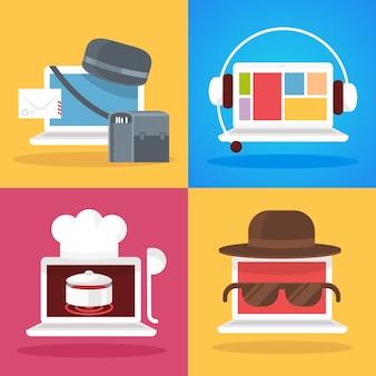 Set of  laptop profession