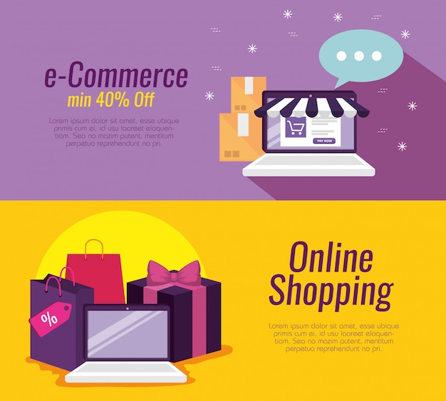 Set laptop technology to shopping online and packages
