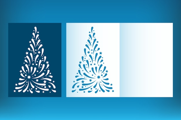 Set of laser cut christmas card template