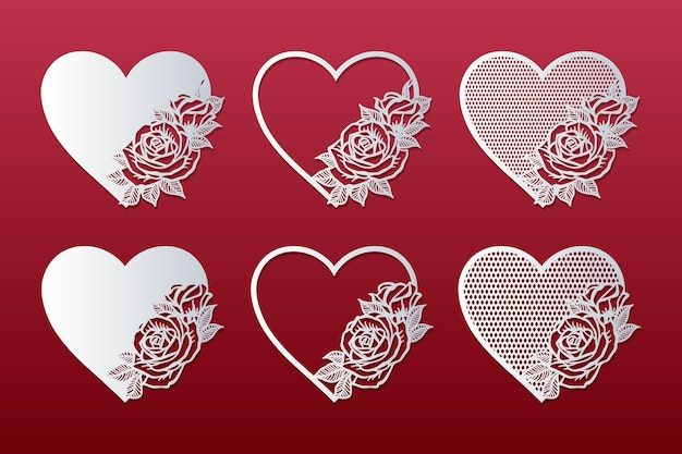 Set of laser cut hearts with pattern of roses. frames with roses.