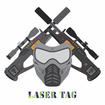 Set of laser tag game. helmet and laser guns logo.