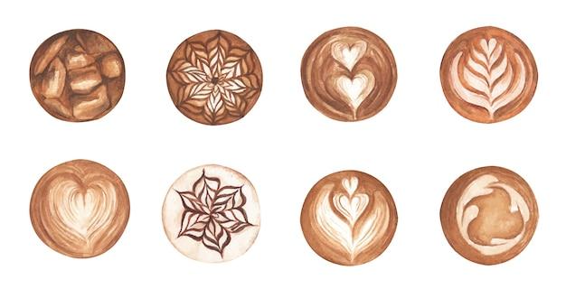 Набор латте арт, форма сердца, ледяной кофе, кофе латте арт. вид сверху пены искусства латте капучино горячего кофе. акварельная иллюстрация.