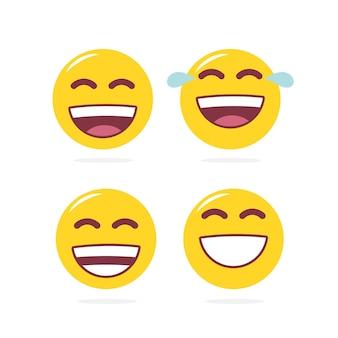 Set of laugh emoji on white background