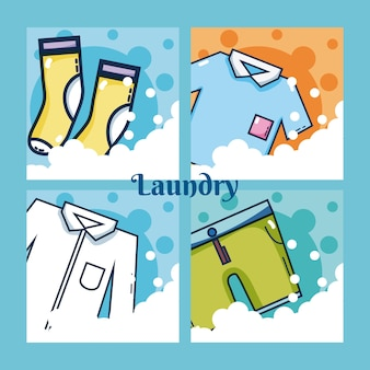 Set of laundry clothes vector illustration graphic design