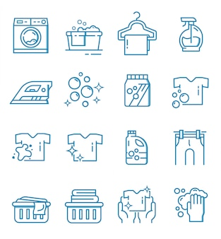 Set of laundry icons with outline style