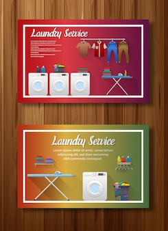 Set of laundry service banner design
